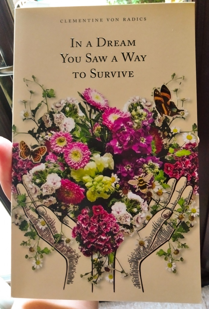 in a dream you saw a way to survive by Clementine Von Radics book cover image - two cupped  hands holding a large and colourful bouquet of flowers